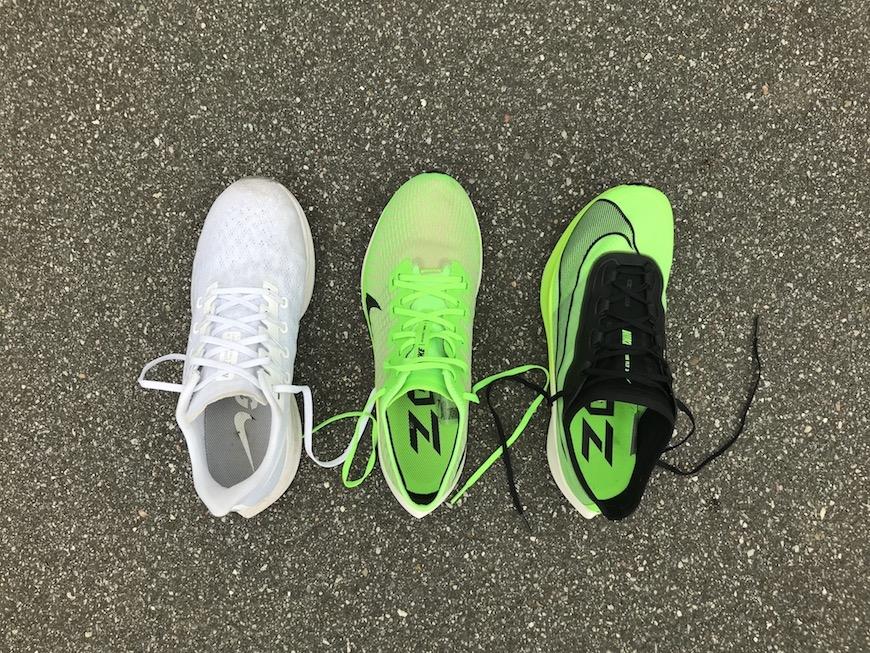 Nike pegasus 36, pegasus turbo 2 og zoom fly 3