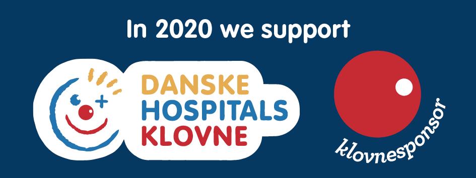 """Vi støtter Danske Hospitalsklovne - Vi er """"Klovnesponsor"""" i 2020"""